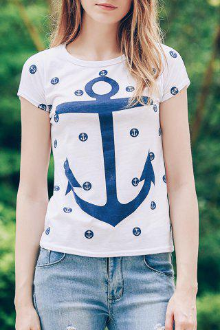 New Trendy Scoop Neck Short Sleeve Anchor Print Women's T-Shirt