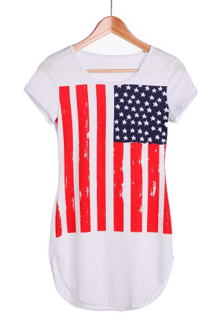 Buy Sexy Scoop Neck Flag Print Short Sleeve Dress For Women