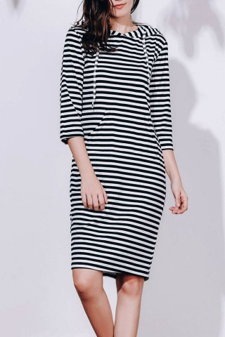 New Striped Hoodie Sweatshirt Dress BLACK S