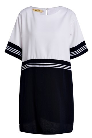 Hot Preppy Style Scoop Neck Short Sleeve Striped Plus Size Dress For Women WHITE 5XL