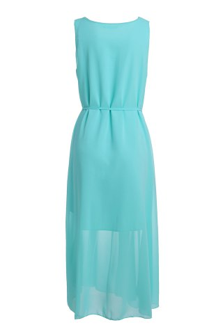 Stylish Scoop Neck Sleeveless Solid Color Women's Maxi Dress - Azure - Xl
