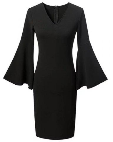 Chic Chic Plunging Neck Flare Sleeve Black Women's Dress