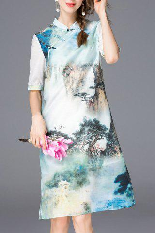 Outfits Side Slit Painting Print Dress