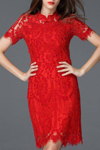 Fancy Lace Sheath Cheongsam Dress