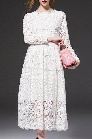 Discount Midi Lace Wedding Guest Dress WHITE 2XL