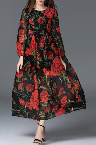 Fashion Long Sleeve Maxi Floral Dress