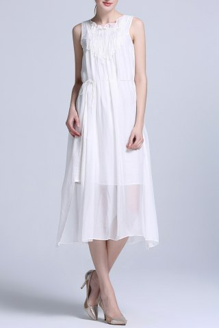 Fancy Solid Color Pleated Midi Tank Top Dress