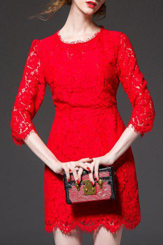 Fancy High Waist Sheath Lace Dress