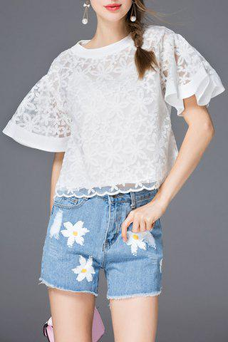 Shop Embroidered Flare Sleeve T-Shirt