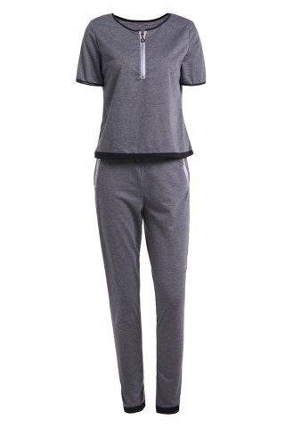 Chic Short Sleeve Tee and Pants Sweat Suit
