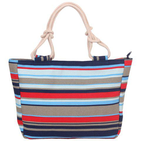 Outfit Leisure Color Block and Stripes Design Tote Bag For Women