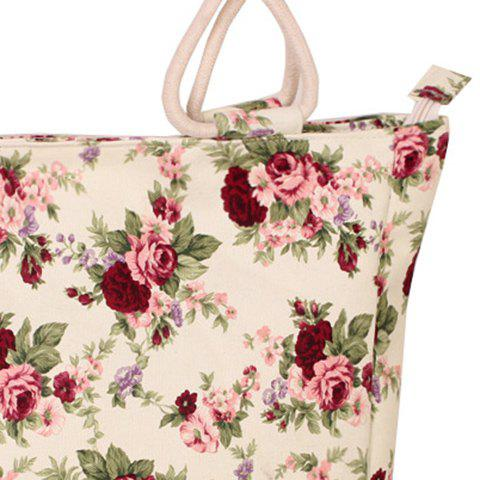 Discount Floral Print Canvas Tote Bag - RED  Mobile