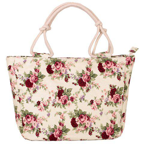 Chic Floral Print Canvas Tote Bag