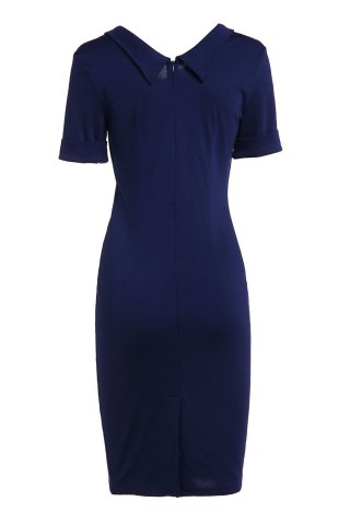Hot Elegant Flat Collar Solid Color Short Sleeve Bodycon Dress For Women - M PURPLISH BLUE Mobile