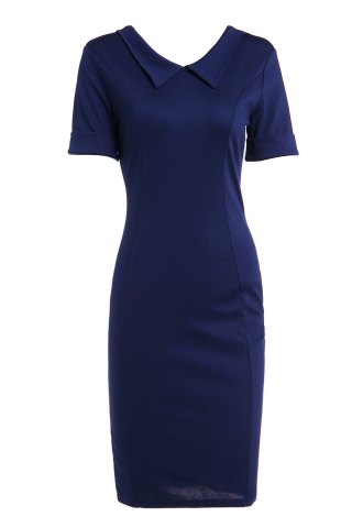 Shop Elegant Flat Collar Solid Color Short Sleeve Bodycon Dress For Women - M PURPLISH BLUE Mobile