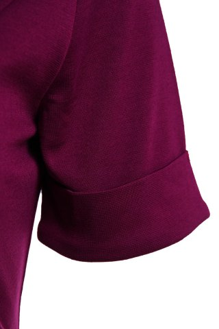 Buy Elegant Flat Collar Solid Color Short Sleeve Bodycon Dress For Women - S PURPLE Mobile