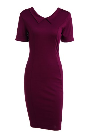 Affordable Elegant Flat Collar Solid Color Short Sleeve Bodycon Dress For Women
