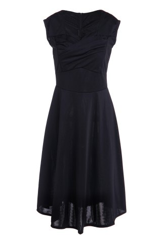 Fashion Vintage Ball Gown Prom Swing Skater Dress BLACK S