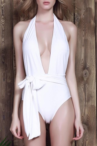 Unique Sexy Halter Neck Low Cut Solid Color One-Piece Women's Swimwear
