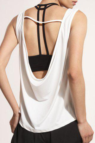Sporty U Neck Backless Running Tank Top - WHITE L