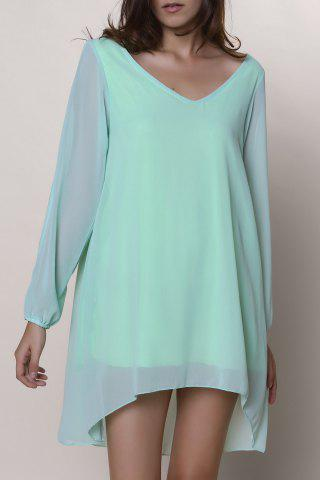 Buy Split Long Sleeve Chiffon Summer Mini Dress LIGHT GREEN M