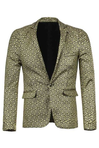 Stylish Turn-down Collar Slimming Floral Gold Print Long Sleeves Men's Cotton Blend Blazer - Golden - 2xl