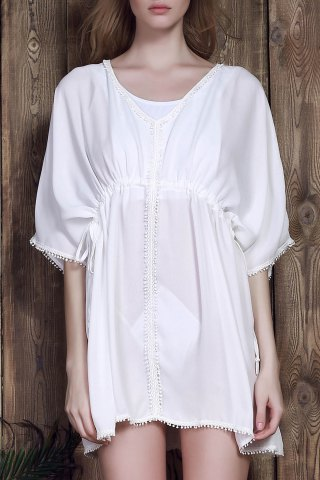 High Waist Drawstring Cover-Up - White - One Size