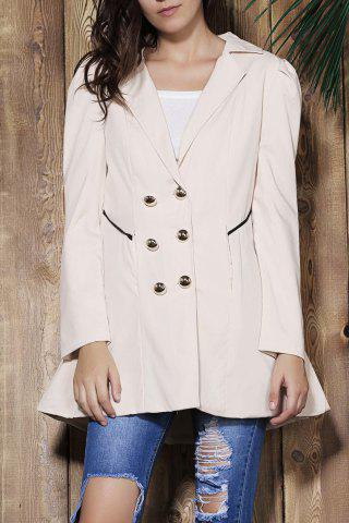 Outfit Elegant Turn-Down Collar Double Breasted Long Sleeve Trench Coat For Women
