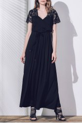 Plunging Neck Lace Sleeves Maxi Prom Dress
