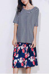 Elegant Scoop Neck Striped T-Shirt and Floral Printed Skirt Twinset For Women