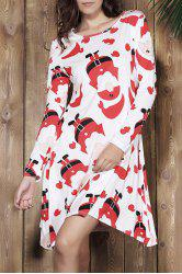 Cute Jewel Neck Santa Printed Long Sleeve Dress For Women