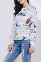 Trendy Striped Colorful Printed Long Sleeve T-Shirt For Women -