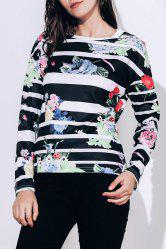 Trendy Striped Colorful Printed Long Sleeve T-Shirt For Women