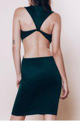 Alluring Scoop Neck Sleeveless Solid Color Cut Out Women's Dress