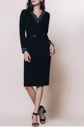 OL Style Turn-Down Collar Long Sleeve Polka Dot Spliced Women's Pencil Dress -