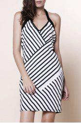 Backless Striped Halter Sheath Club Dress -
