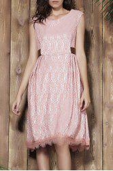 Sleeveless Lace Prom Ball Gown Dress