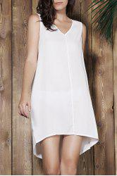 Simple V-Neck Sleeveless White Loose-Fitting Women's Dress - OFF-WHITE