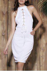Sexy Halter White Self-Tie Hollow Sleeveless Dress For Women -