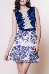 Sexy Scoop Neck Sleeveless See-Through Flower Pattern Women's Dress