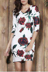 Stylish Plunging Neck 3/4 Sleeve Floral Print Bodycon Women's Dress - WHITE XL