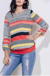 Casual Scoop Neck 3/4 Sleeve Loose-Fitting Striped Women's T-Shirt
