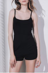 Women's Stylish Sleeveless Skinny Black Romper - BLACK S