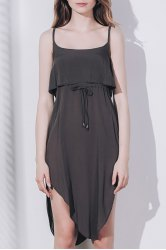 Sexy Spaghetti Strap Sleeveless Solid Color Asymmetrical Slit Dress For Women