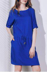 Chic Round Neck Short Sleeve Lace Design Women's Dress