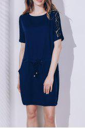 Chic Round Neck Short Sleeve Lace Design Women's Dress -