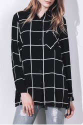 Stylish Shirt Collar Long Sleeve Loose-Fitting Plaid Blouse For Women