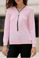 Fashionable Solid Color Alloy Zippered Long Sleeve Sweatshirt For Women -