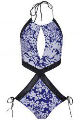 Sexy Halter Floral Print Hollow Out One-Piece Swimwear For Women -