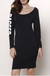Back Ripped Cut Out Long Sleeve Bodycon Dress - BLACK